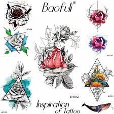 Us 046 5 Offbaofuli Sketch Triangle Rose Watercolor Geometric Whale Temporary Tattoo Sticker Waterproof Fake Tatoo Sexy Women Make Up Flower In