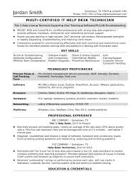 Template Sample Resume For A Midlevel It Help Desk Professional