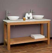 Bamboo Bathroom Sink 60 Michele Bamboo Double Vessel Sink Console Vanity Bathroom