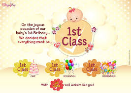 Fist year birthday greeting cards