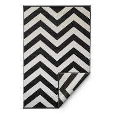 recycled black white chevron rug laa