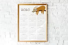 2020 Year At A Glance Calendar Sloth Calendar