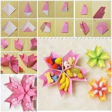 Paper Flower Origami Diy Origami Paper Flower Dish