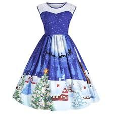 Dresslily Womens Christmas Santa Claus Print Sleeveless Plus Size Party Swing Pin Up Dress With Lace Insert