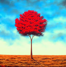 fall tree landscape painting original oil painting red tree painting canvas art large wall art 24x24