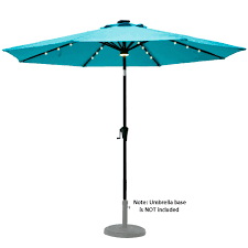 Blue Patio Umbrella With Lights Flame Shade 9 Solar Outdoor Patio Umbrella Market Style With Led Light And Tilting For Balcony Table Deck Or Garden Aqua Blue