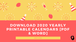 Word 2020 Calendars Free Printable Yearly Calendar 2020 Template Pdf And Word