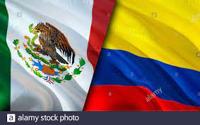 Mexico and Colombia flags. 3D Waving flag design. Mexico Colombia flag,  picture, wallpaper. Mexico vs Colombia image,3D rendering. Mexico Colombia  rel Stock Photo - Alamy