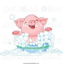 vector cartoon clip art of a happy piglet taking a bubble bath by