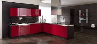 Red nad grey kitchen design