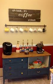 diy rustic coffee station table with storage and drawer painted with chalk blue color under hanging cup hooks rack ideas
