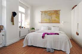 Excellent Open Floor Plans Ideas Of 47sqm One Bedroom Apartment : Cozy  White Wall Small Bedroom