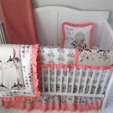 baby girl crib bedding tan peach c blue boho dreamcatcher skull sets triangles with lace made