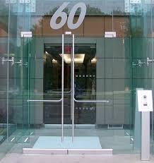 framed glass doors on a glass vestibule