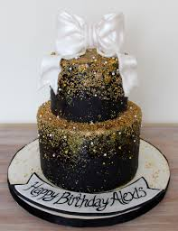 white black gold birthday cake cle elegant with gold sprinkles and glitter reverse ombre and shiny bow glittercake