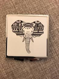 Elephant Design Gifts Black And White Elephant Compact Mirror Trendy Mum Gift