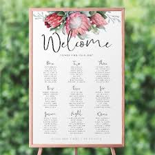 Etsy Table Seating Chart Protea Wedding Seating Chart Printable Wedding Seating Plan Welcome Sign Template Table Seating Chart Wedding Signage Wild Hearts Suite