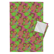 Crazy Rainbow Circles Psychedelic Fruit Salad Tea Towels By