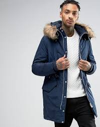 pull bear parka with faux fur hood in navy blue men jackets pull bear parka coat in khaki pull bear denim jacket competitive