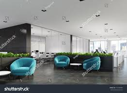 modern office walls. Side View Of A Modern Office Waiting Area With Blue Armchairs, Coffee Table, Walls