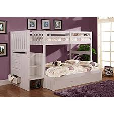 white bunk bed with stairs. Delighful Bed Discovery World Furniture Twin Over Full Stair Stepper Bed With Trundle In  White Finish Throughout Bunk With Stairs T