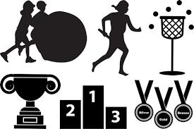運動会体育祭の無料イラスト素材フレーム飾り枠罫線シルエット