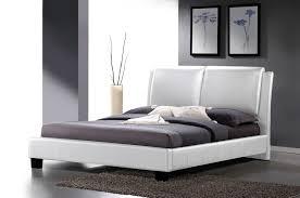 white modern platform bed. Sabrina White Modern Bed With Overstuffed Headboard (King Size) Platform
