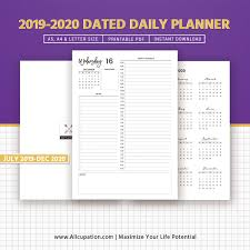 Daily Planner Template 2020 2019 2020 Daily Planner Printable Dated Daily Planner 18 Months Daily Agenda Daily Organizer Filofax A5 A4 Letter Size Planner Refills