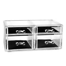 clear acrylic makeup cosmetic display storage drawers holder 4 grid drawers 0