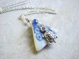porcelain sea gl jewelry sterling silver turtle necklace images of