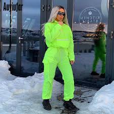 <b>Auyiufar</b> Neon Green Long Sleeve Hooded Sweatshirt Loose ...