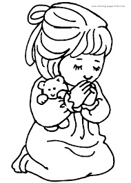 Girl Praying Color Page Coloring Pages For Kids Religious