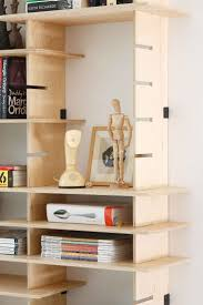 Modular plywood shelving system for the new studio