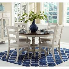 5pc round dining table set hilale pine island 5pc round dining set with ladder back chairs