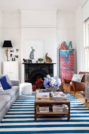 styling blue and white striped rugs