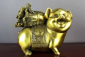 Chinese brass copper Fengshui Money Rich Zodiac Year lucky Pig ...