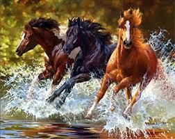 horses running. Simple Horses 21secret 5D Diamond Diy Painting Three Horses Running In Water Cross Stitch  Home Decor Embroidery Kit To R