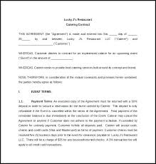 Sample Catering Contract Template Free Sample Catering