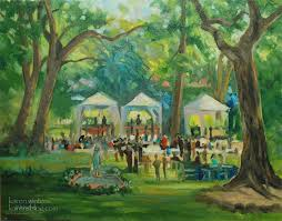 garden party pasadena paint out california impressionist landscape painting by karen winters