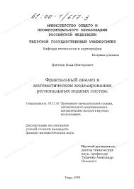 Диссертация на тему Фрактальный анализ в математическом  Диссертация и автореферат на тему Фрактальный анализ в математическом моделировании региональных водных систем