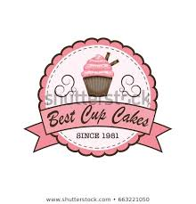 Cup Cakes Bakery Logo Banner Label Stock Vector Royalty Free
