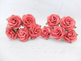 Red Paper Flower 1 Inch Mulberry Paper Roses With Wire Stems 25mm Flowers With Wire Stems