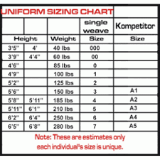 Judo Suit Size Chart Pearl Weave Jiu Jitsu Kimono For Competition