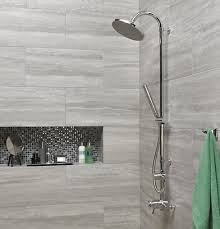 modern shower heads. Excellent Light Grey Wall Tiles With Sleek Chrome Finished Shower Head For Modern Bathroom Plan Heads