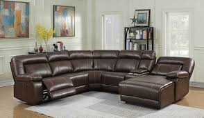 mgs 8002 br 5 pc collette brown faux leather sectional sofa with recliners and cup holders