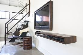 Rustic Brown Old Wooden Wall Mounted Floating TV Console With Narrow  Shelves Also Rustic TV Frame On White Wall