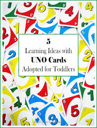 adapting uno card game to be used with toddlers to teach them colors numbers and