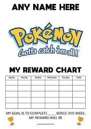 Pokemon Behaviour Chart Personalised Childrens A4 Reward Behaviour Chart Pokemon And