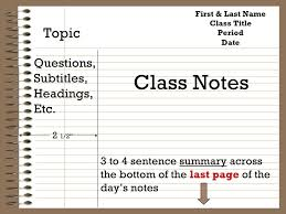 Class Notes Template Barca Fontanacountryinn Com