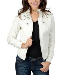 Ci Sono By Cavalini White Stud Faux Leather Jacket